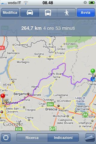 Itinerario con destinazioni intermedie